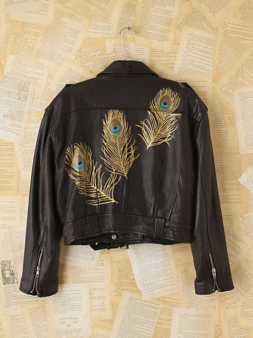 Free People Vintage Wild Unknown Hand-Painted Leather Jacket in vintage-jackets