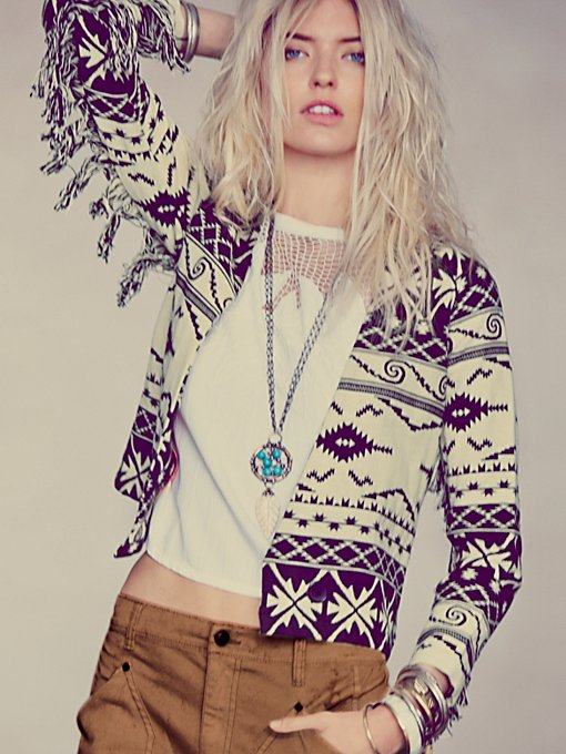 Ikat On The Fringe Jacket in soft-jackets