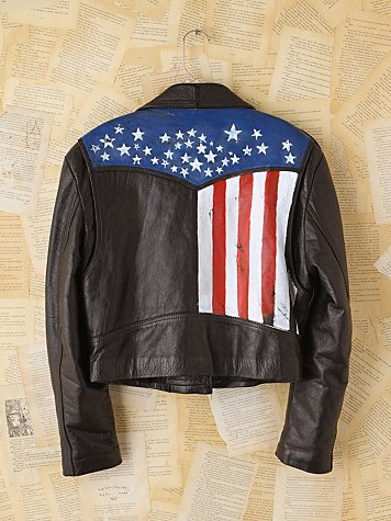Free People Vintage Carrie Yotter Hand-Painted Leather Jacket