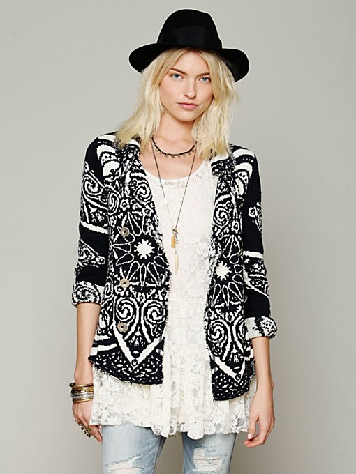 Free People Smitten Kitten Patterned Jacket in cardigan-sweaters