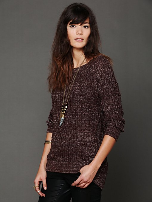 Free People Open Neck Sweater Tunic in tops