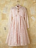 Vintage Pink Lace Dress with Matching Shrug