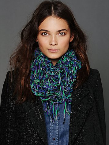 Open Knit Fringe Loop Scarf