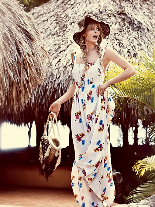 Candela Joie Rose Print Maxi in white-maxi-dresses
