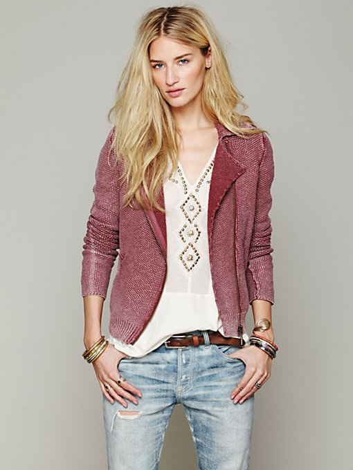 Free People Zip Up Sweater Jacket in knitted-cardigan-sweaters