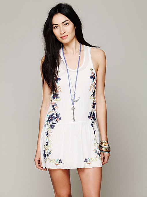 Free People Engineered Print Slip in Silk-Dresses