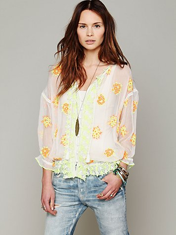 Free People FP New Romantics Neon Embroidered Blouse