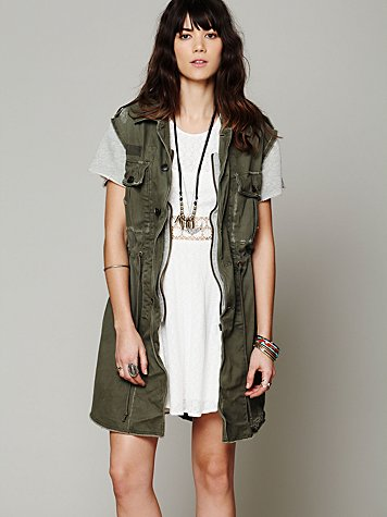 Free People Embroidered Cargo Vest