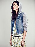 Knit Hooded Denim Jacket