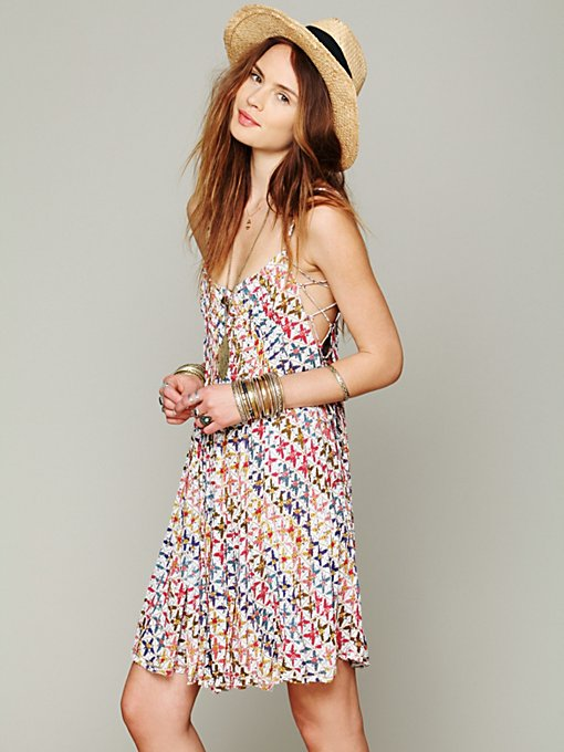 Free People FP ONE Imperial Palm Pintuck Dress in Beach-Dresses