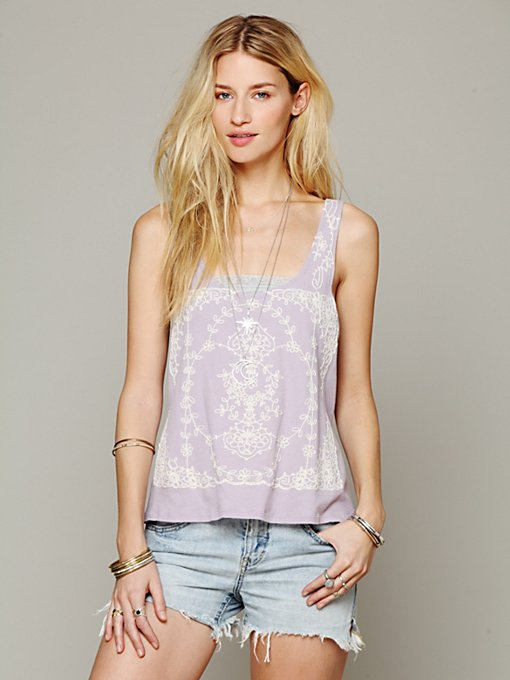 Free People FP X Flower Garland Tank in beach-clothes