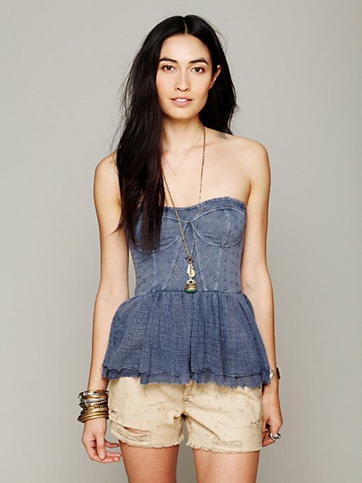 Free People Eyelet Peplum in Corset-Tops