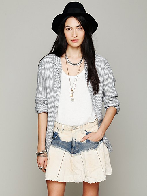 Free People Mississippi Denim Swing Skirt in mini-skirts