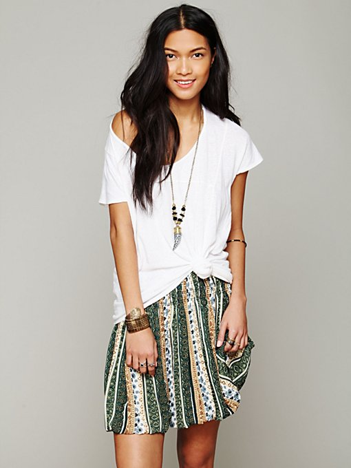 Free People Printed Pull On Mini Skirt in mini-skirts