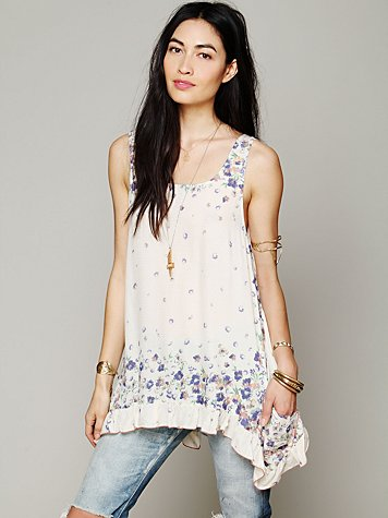 Free People Border Print Sleeveless Tunic