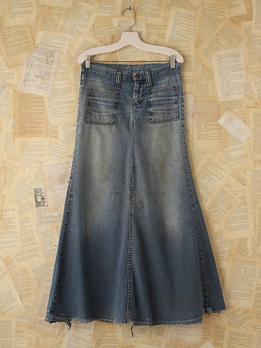 Free People Vintage 1960s Denim Patchwork Skirt in vintage-jeans