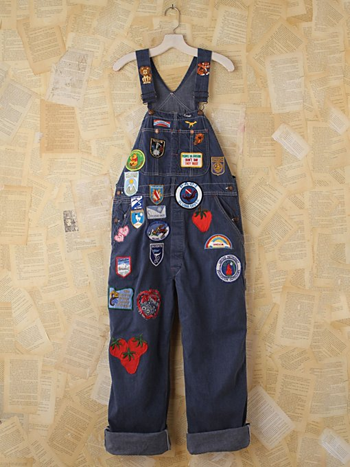 Free People Vintage 1970s Patched Denim Overalls in vintage-jeans