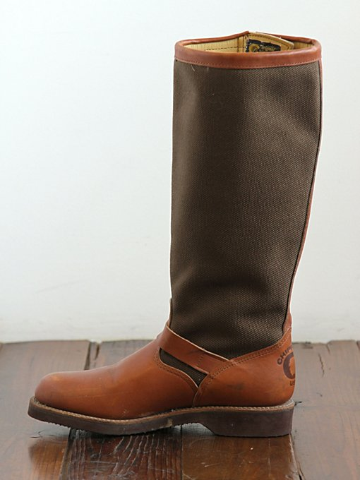Free People Vintage Canvas and Leather Tall Boots in vintage-shoes