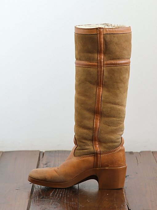 Free People Vintage Shearling Lined Suede Tall Boots in vintage-shoes