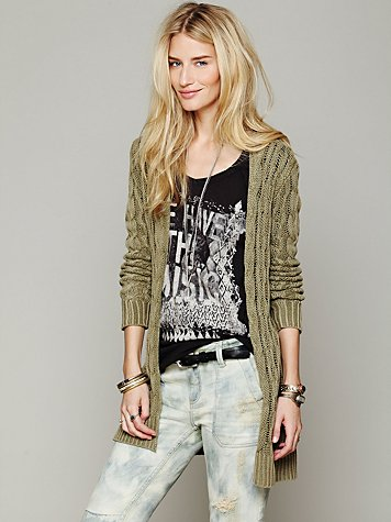 Free People Long Cable Cardigan