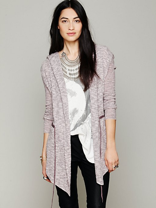 Free People Long Mini Stripe Cardigan in cardigan-sweaters