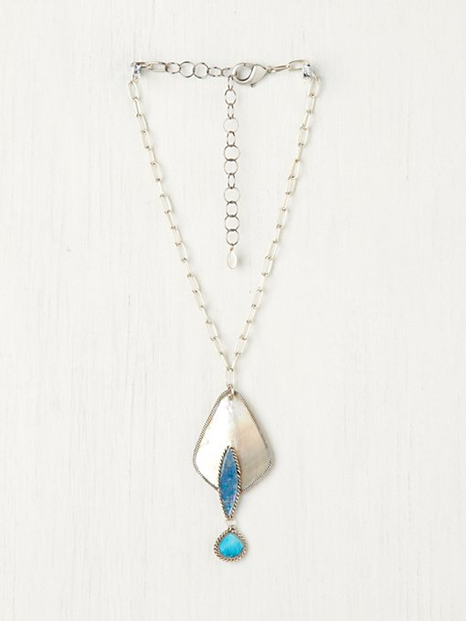 Annie Hammer  Turquoise Three Tier Shell Pendant in bib-necklaces
