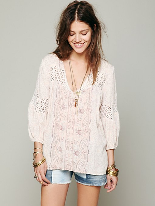 Printed Bubble Sleeve Top in clothes-fp-exclusives-tops-sweaters
