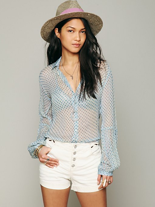 Free People Sheer Dot Buttondown Shirt in Button-Down-Shirts
