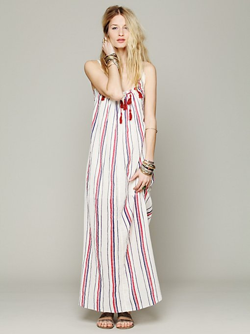 Free People Striped Unearthen Dress in white-maxi-dresses