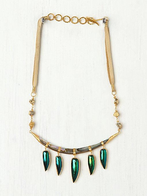 Heather Benjamin Beetle Wing Drop Collar in bib-necklaces