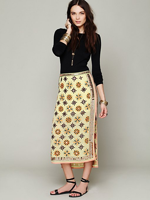 FP New Romantics Mirror Embroidered Column Skirt in sale-new-sale