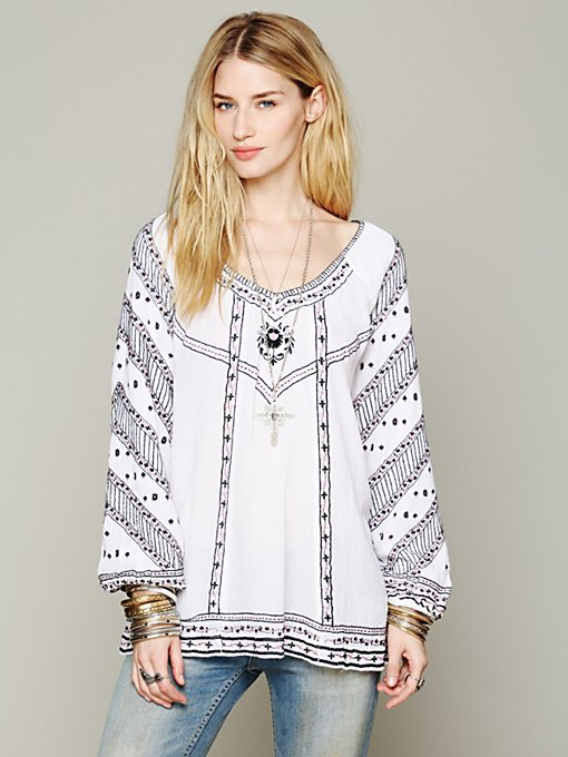 Embroidered V-neck Tunic in clothes-fp-exclusives