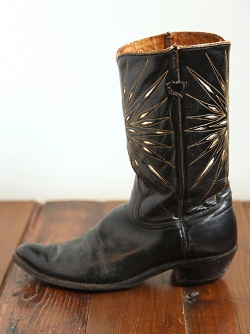 Free People Vintage Black Cowboy Boots with Metallic in vintage-shoes