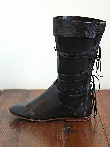 Free People Vintage Black Leather Fringe Boots