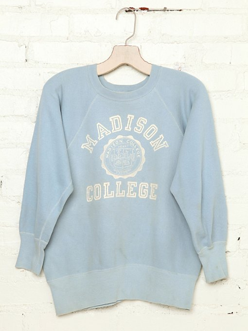 Free People Vintage Madison College Sweatshirt in Vintage-Tops