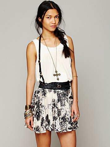 Free People Willow Rose Silk Mini Skirt