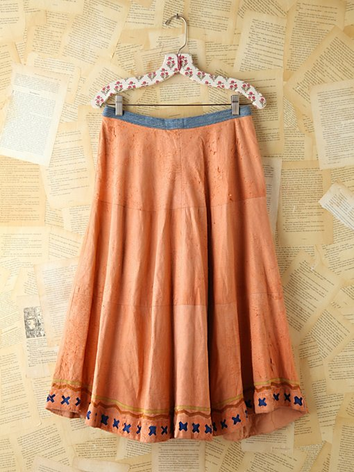 Free People Vintage Salmon Suede and Denim Skirt in vintage-skirts