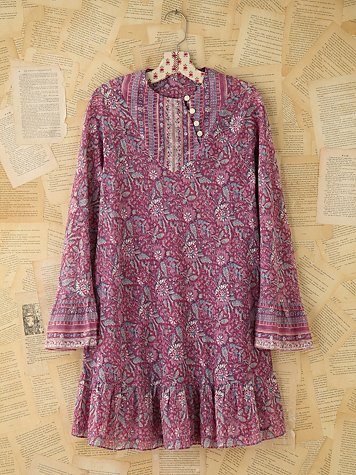 Free People Vintage Purple Indian Print Dress