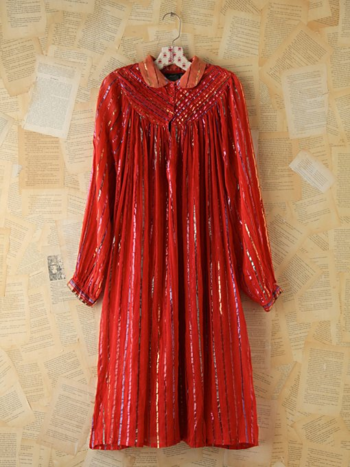 Vintage Metallic Striped Boho Dress in Vintage-Loves-dresses