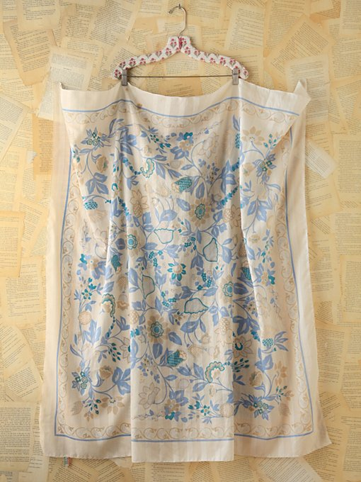 Vintage Blue Floral Printed Scarf in vintage-loves-other