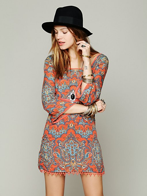 Free People Printed Square Neck Tunic in Shift-Dresses