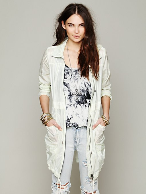 Free People Nylon Hooded Anorak in lightweight-jackets