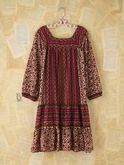 Free People Vintage Printed Boho Dress in Vintage-Dresses
