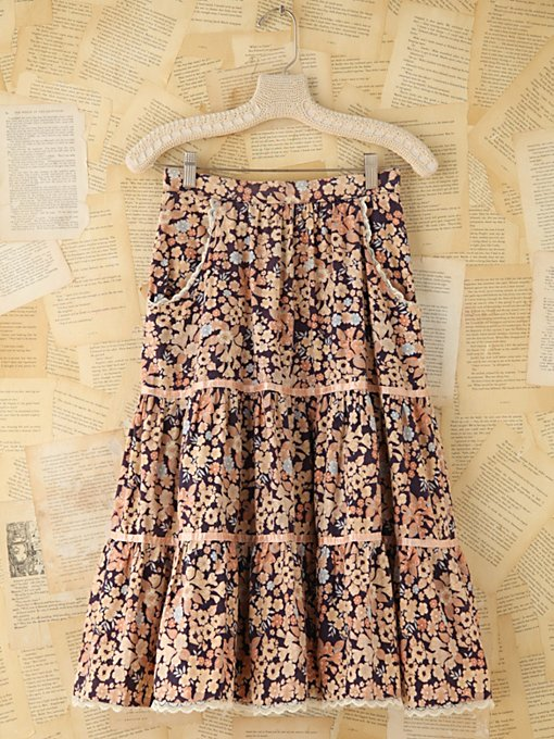 Free People Vintage Floral Skirt With Pockets in vintage-skirts