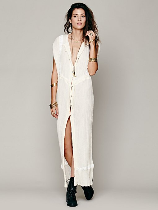 Jen's Pirate Booty Sleeveless Crochet Inset Maxi in white-maxi-dresses