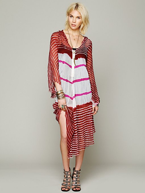 Lov Project Lovely In Stripes Hooded Kaftan in Silk-Dresses