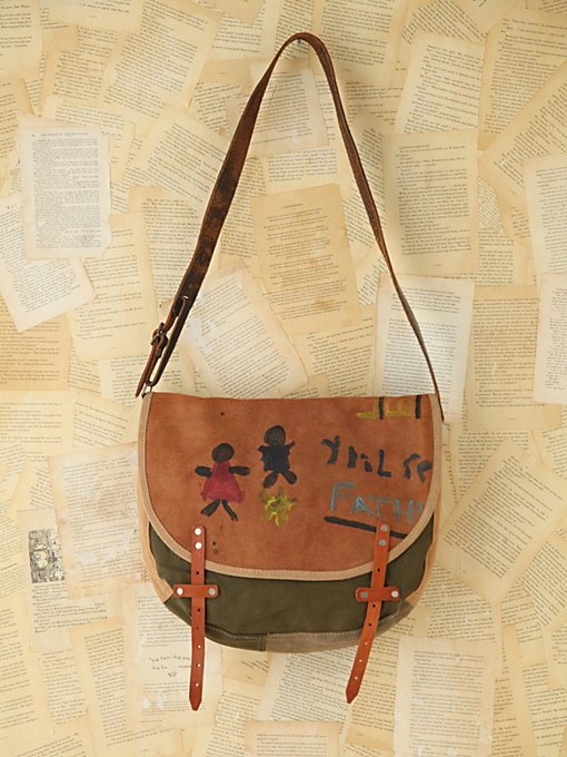 Free People Vintage Painted Leather Messenger Bag in vintage-handbags