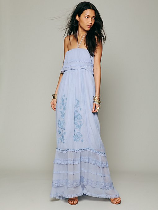 Candela Maddie Embroidered Silk Maxi in strapless-maxi-dresses