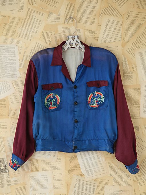 Free People Vintage Embroidered Silk Jacket in vintage-jackets