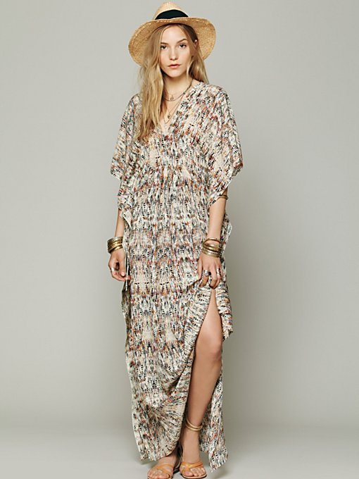 Print Silk Kaftan Maxi in clothes-dresses-day